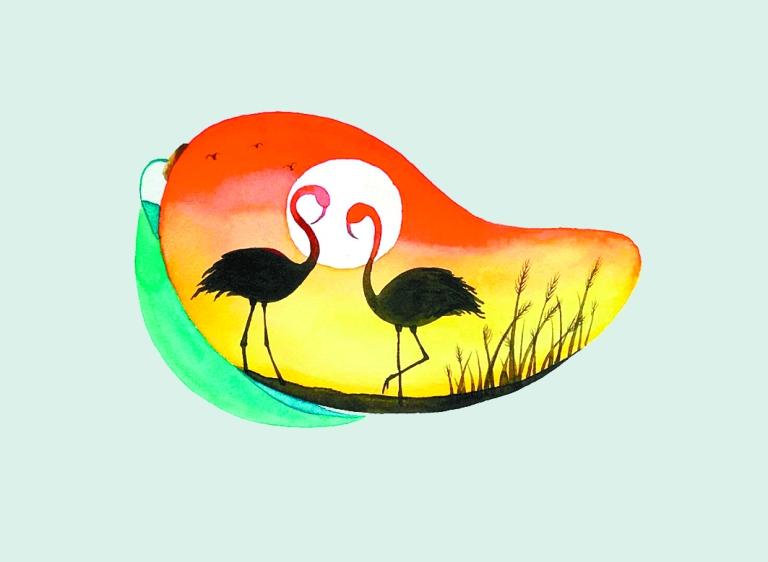 -->  张亮   《攀枝花文化》2017年9月刊的封面是一抹鲜亮的芒果黄,下方是三幅芒果的小帧。   那天,普光泉先生带我去拜访了创作这三幅芒果的画家,博为学校的李晓翠老师。她给我们展示了更多的芒果作品。   整个世界都在这个芒果里。画面设计天马行空,那种想象力,长期在精神世界遨游的人才能有这样的情感表达。芒果里住着攀枝花、住着莲花,住着梅花鹿、住着羚羊,住着手牵手的两个小人儿、住着相视而立的火烈鸟我没想到,这位年轻的女教师,利用水彩和禅在小小的芒果里创造了世界。   她说她是攀枝花人,就想着把攀